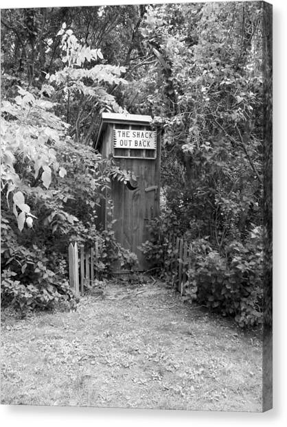 The Shack Out Back In Black And White Canvas Print