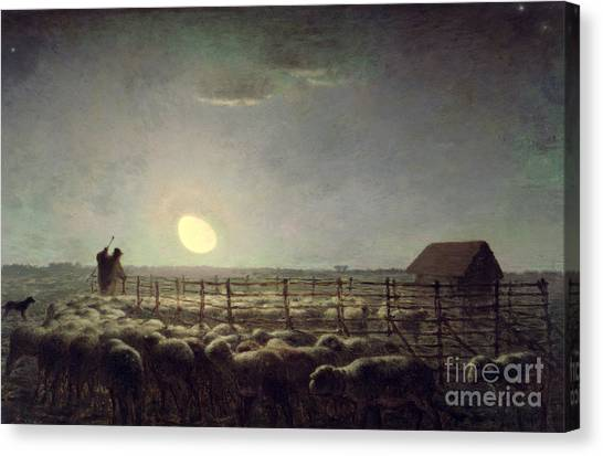 Ewe Canvas Print - The Sheepfold   Moonlight by Jean Francois Millet