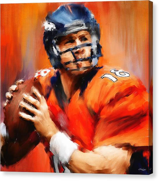Peyton Manning Canvas Print - The Sheriff by Lourry Legarde