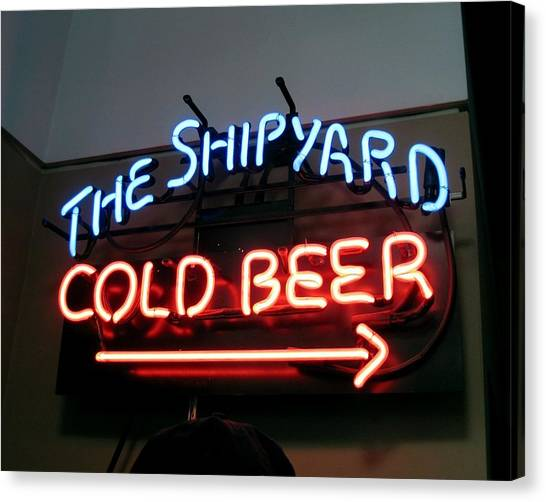 The Shipyard Cold Beer Neon Sign Canvas Print by Patricia E Sundik