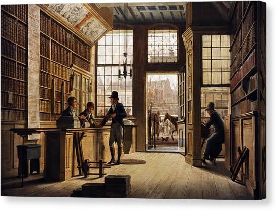 Rijksmuseum Canvas Print - The Shop Of The Bookdealer Pieter Meijer Warnars On The Vijgendam In Amsterdam, 1820, By Johannes by Bridgeman Images