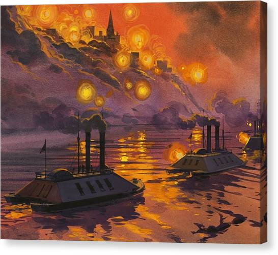 Mississippi River Canvas Print - The Siege Of Vicksburg by Angus McBride