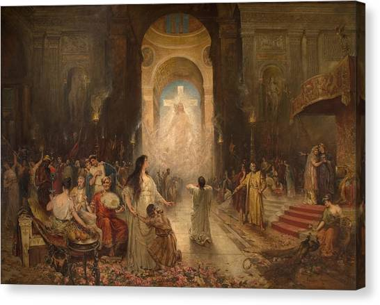 Apparition Canvas Print - The Sign Of The Cross by Davidson Knowles