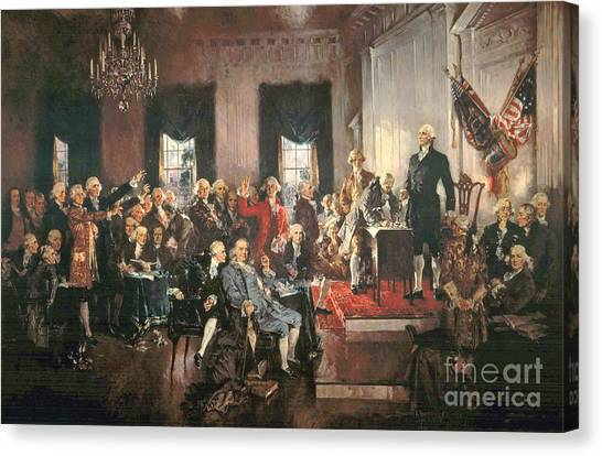 Thomas Jefferson Canvas Print - The Signing Of The Constitution Of The United States In 1787 by Howard Chandler Christy
