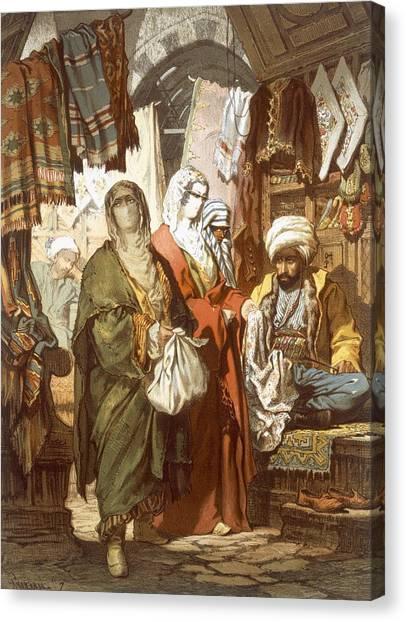 Fabric Canvas Print - The Silk Bazaar, 1865 by Amadeo Preziosi