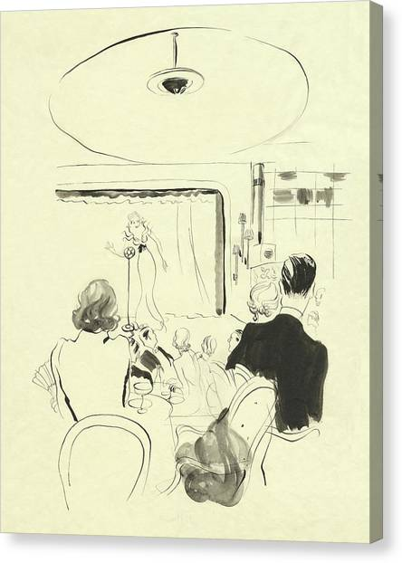 Indoors Canvas Print - The Silver Room At Grosvenor House by Rene Bouet-Willaumez