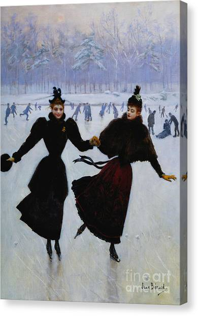 Ice Skating Canvas Print - The Skaters by Jean Beraud