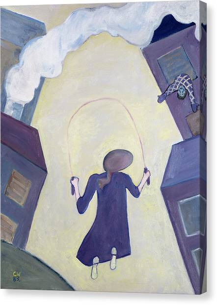 Corde Canvas Print - The Skipping Rope, 1983 Oil On Canvas by Celia Washington