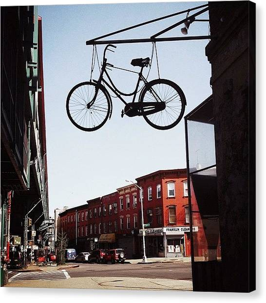 Bicycle Canvas Print - The Sky Is The Limit... #nyc by Vivienne Gucwa