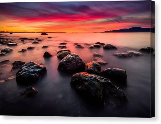 Ocean Canvas Print - The Sky On Fire by Alexis Birkill