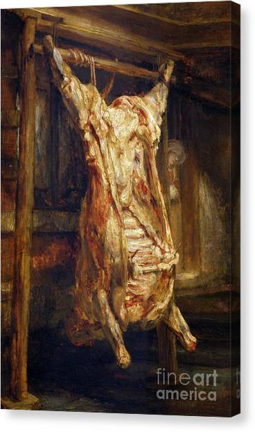Carcass Canvas Print - The Slaughtered Ox by Rembrandt Harmenszoon van Rijn