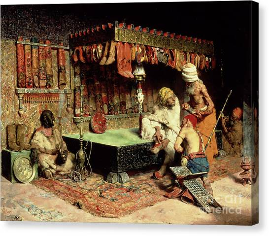 Muslim Canvas Print - The Slipper Merchant by Jose Villegas Cordero
