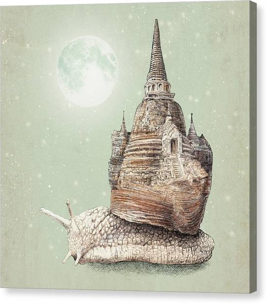 Moon Canvas Print - The Snail's Dream by Eric Fan