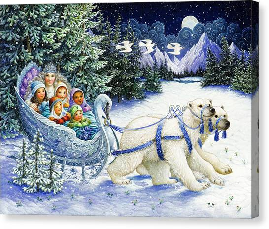 Polar Bear Canvas Print - The Snow Queen by Lynn Bywaters