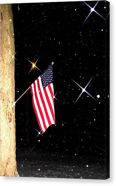 The Snow The Moon And The Flag Canvas Print by Sharon Costa