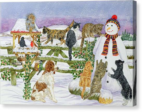 Springer Spaniel Canvas Print - The Snowman And His Friends  by Catherine Bradbury