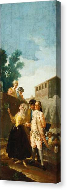 The Prado Canvas Print - The Soldier And The Lady by Francisco Goya