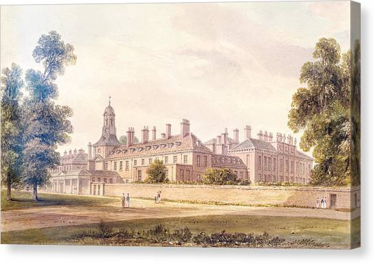 Hyde Park Canvas Print - The South-west View Of Kensington Palace, 1826 Wc On Paper by John Buckler