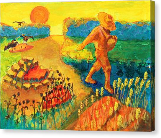The Sower Painting By Bertram Poole Canvas Print