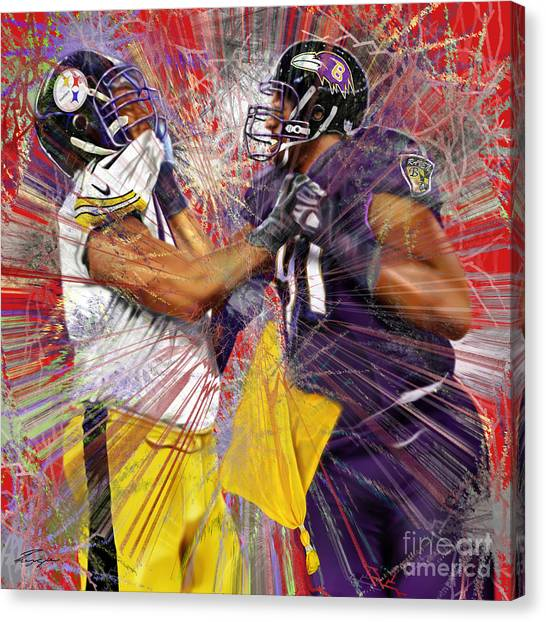Baltimore Ravens Canvas Print - The Spectacle - Baltimore At Pittsburgh  by Reggie Duffie