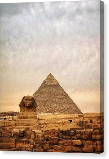 The Sphinx And Pyramid Of Chephren Canvas Print by Marie-louise Mandl / Eyeem