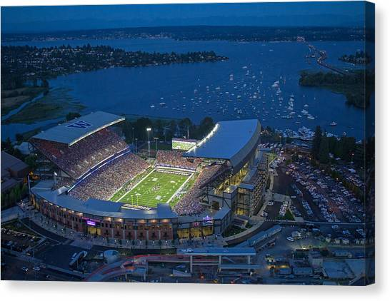 Pac 12 Canvas Print - Husky Stadium And The Lake by Max Waugh