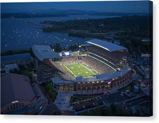 University Of Washington Canvas Print - Husky Stadium And The Mountain by Max Waugh