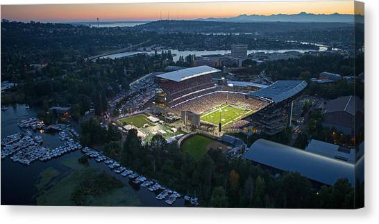 University Of Washington Canvas Print - Husky Stadium And The Needle by Max Waugh