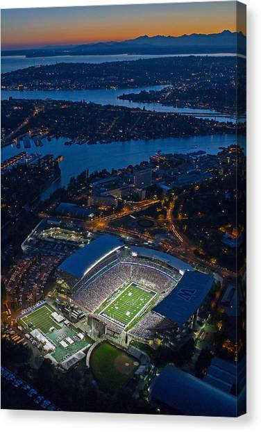 Pac 12 Canvas Print - Husky Stadium At Dusk by Max Waugh