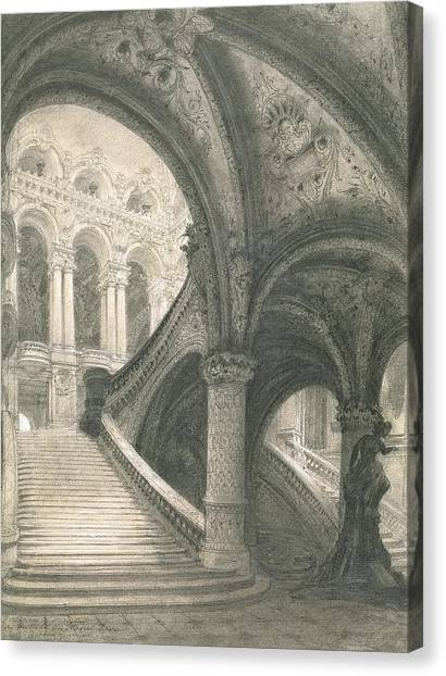 Baroque Canvas Print - The Staircase Of The Paris Opera House by Charles Garnier