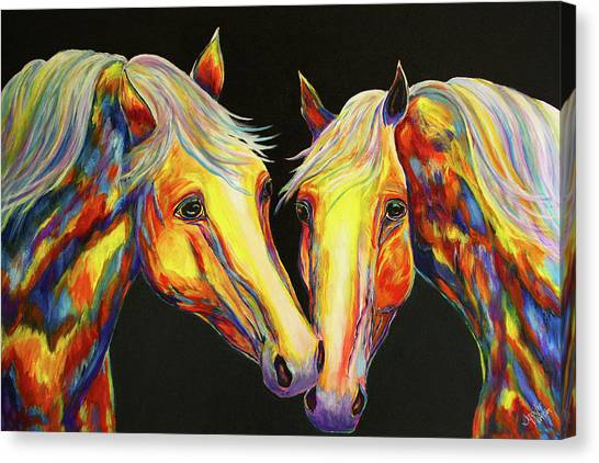The Stallion Kiss Paint Horses Canvas Print