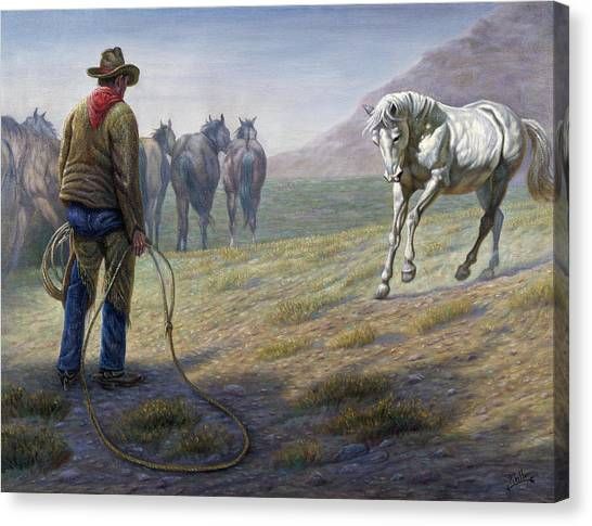 Lassos Canvas Print - The Standoff by Gregory Perillo