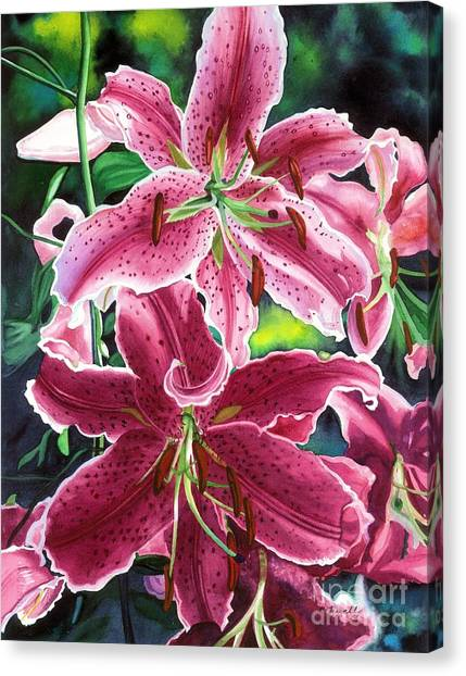 Lilies Canvas Print - The Stargazers by Barbara Jewell