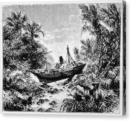 Krakatoa Canvas Print - The Steamer 'berouw' Is  Carried by Mary Evans Picture Library