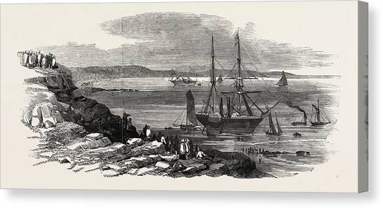 Cyclops Canvas Print - The Steamships Pottinger And Cyclops Stranded In Thorness by English School