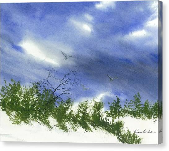 The Still Of Shore Canvas Print by Karen  Condron