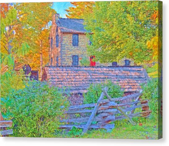 The Stone House At The Oliver Miller Homestead / Late Afternoon  Canvas Print