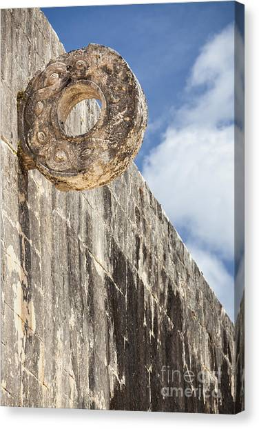 Canvas Print featuring the photograph The Stone Ring At The Great Mayan Ball Court Of Chichen Itza by Bryan Mullennix