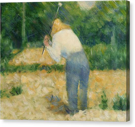 Post-impressionism Canvas Print - The Stonebreaker by Georges Pierre Seurat
