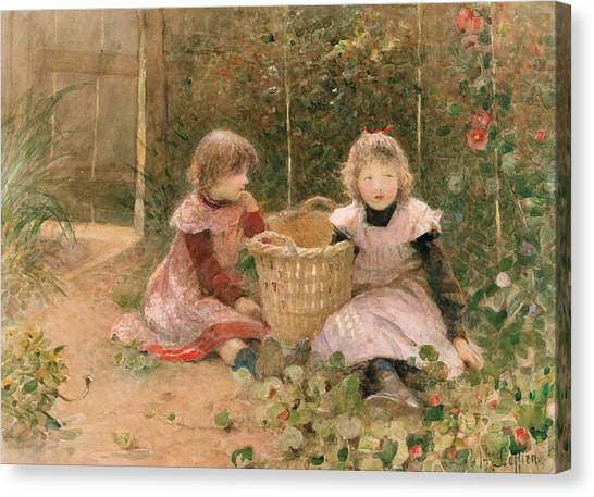 Pinafores Canvas Print - The Strawberry Patch by Hector Caffieri