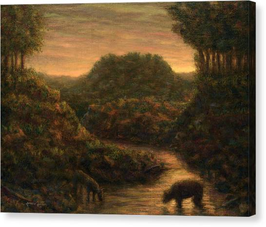 Sundown Canvas Print - The Stream by James W Johnson