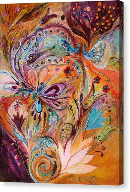 Torah Canvas Print - The Stream Of Life Part II by Elena Kotliarker