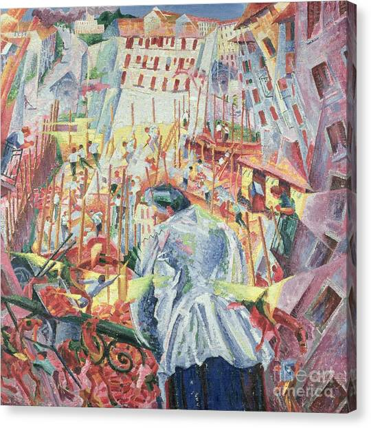 Futurism Canvas Print - The Street Enters The House by Umberto Boccioni