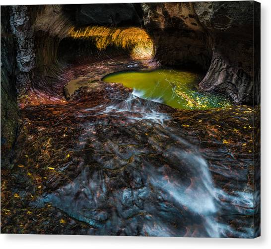 Boulder Canvas Print - The Subway At Zion National Park by Larry Marshall