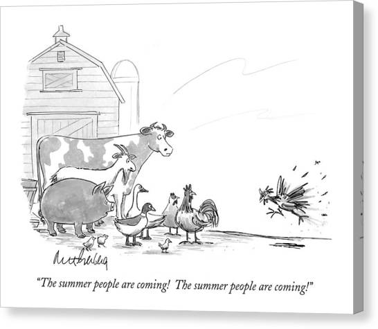Pig Farms Canvas Print - The Summer People Are Coming!  The Summer People by Mort Gerberg