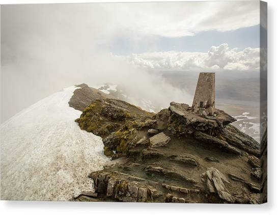 Snow Melt Canvas Print - The Summit Of Ben Lawers by Ashley Cooper