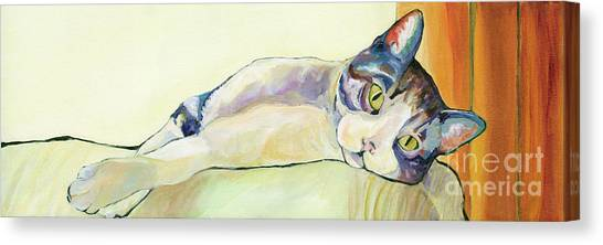 Cat Canvas Print - The Sunbather by Pat Saunders-White