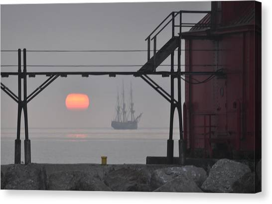 The Sunrises On A Tall Ship In Door County Canvas Print