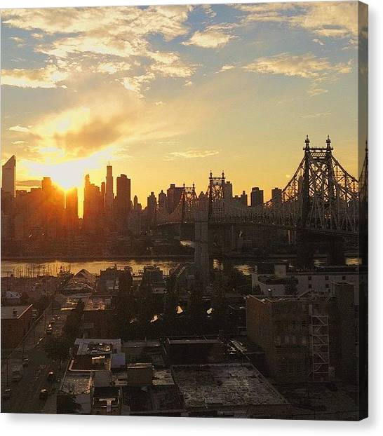 Times Square Canvas Print - The Sunset In #nyc Yesterday Evening by Vivienne Gucwa