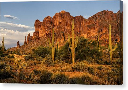 The Superstitions At Sunset  Canvas Print